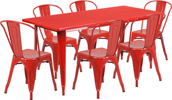"Indoor/Outdoor Cafe Metal 7 Piece set- 31.5"" x 63"" Rectangle Table with 6 Tolix Stack Chairs"