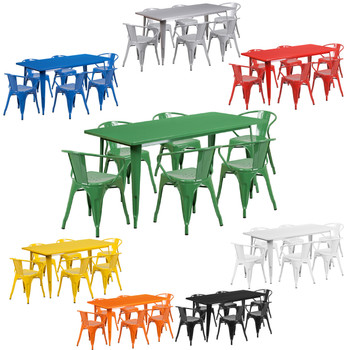 "Indoor/Outdoor Cafe Metal 7 Piece set- 31.5"" x 63"" Rectangle Table with 6 Arm Chairs"