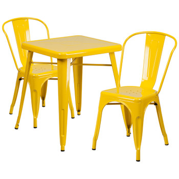 "Indoor/Outdoor Cafe Metal 3 Piece set- 23.75"" Square Table with 2 Stack Chairs-Yellow"