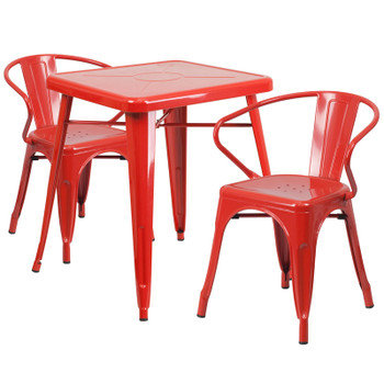 "Indoor/Outdoor Cafe Metal 3 Piece set-23.75"" Square Table with 2 Arm Chairs-Red"