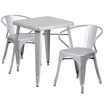 "Indoor/Outdoor Cafe Metal 3 Piece set-23.75"" Square Table with 2 Tolix Arm Chairs"