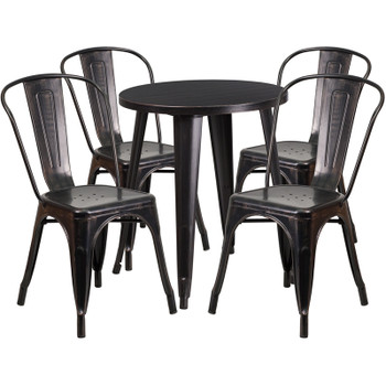 "Indoor/Outdoor Cafe Metal 5 Piece set- 24"" Round Table with 4 Tolix Stack Chairs"