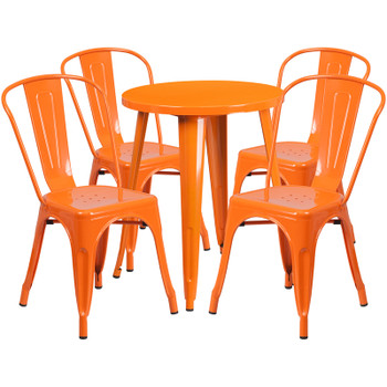 "Indoor/Outdoor Cafe Metal 5 Piece set- 24"" Round Table with 4 Stack Chairs-Orange"