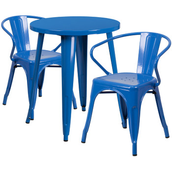 "Indoor/Outdoor Cafe Metal 3 Piece set-24"" Round Table with 2 Arm Chairs-Blue"