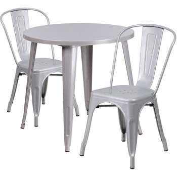 "Indoor/Outdoor Cafe Metal 3 Piece set- 30"" Round Table with 2 Stack Chairs-Silver"