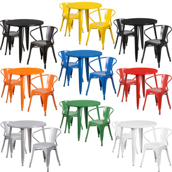 """Indoor/Outdoor Cafe Metal 3 Piece set-30"""" Round Table with 2 Tolix Arm Chairs"""