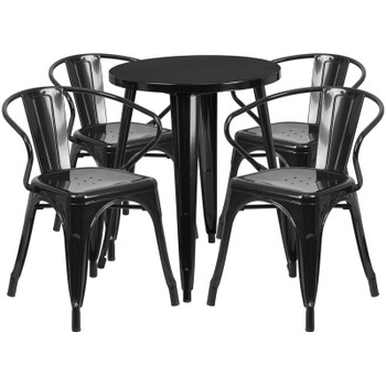 "Indoor/Outdoor Cafe Metal 5 Piece set- 24"" Round Table with 4 Arm Chairs-Black"