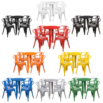 """Indoor/Outdoor Cafe Metal 5 Piece set- 24"""" Round Table with 4 Tolix Arm Chairs"""