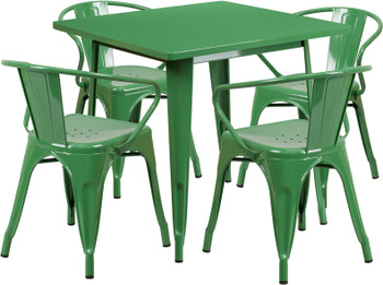 "Indoor/Outdoor Cafe Metal 5 Piece set- 31.5""Square Table with 4 Arm Chairs -Green"