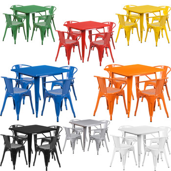 "Indoor/Outdoor Cafe Metal 5 Piece set- 31.5""Square Table with 4 Arm Chairs"