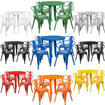 """Indoor/Outdoor Cafe Metal 5 Piece set-30"""" Round Table with 4 Tolix Arm Chairs"""