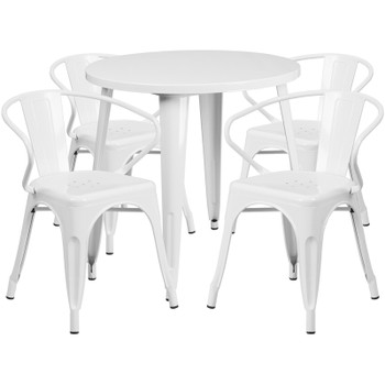 "Indoor/Outdoor Cafe Metal 5 Piece set-30"" Round Table with 4 Arm Chairs -White"