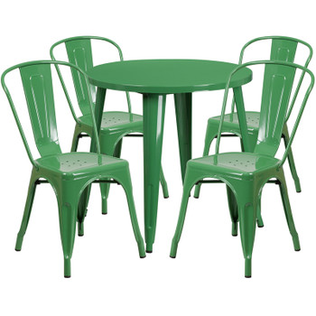 "Indoor/Outdoor Cafe Metal 5 Piece set- 30"" Round Table with 4 Stack Chairs-Green"
