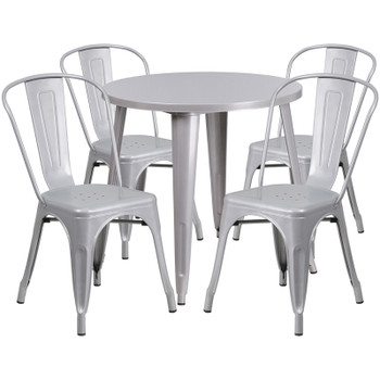 "Indoor/Outdoor Cafe Metal 5 Piece set- 30"" Round Table with 4 Tolix Stack Chairs"