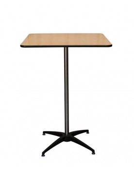 """Premier Series 30"""" Square Wood High Top Cocktail Table with Self-Leveling Glides"""