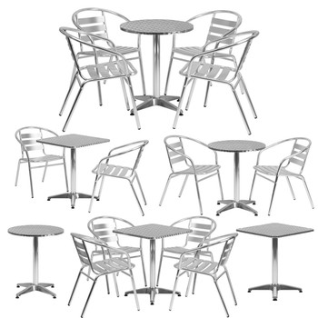 Aluminum Indoor/Outdoor Table Set with Slat Chairs