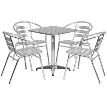 Aluminum Indoor/Outdoor Table Set with Stackable Slat Chairs
