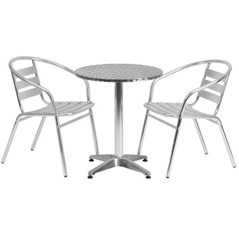 "Aluminum Indoor/Outdoor Table Set with Slat Chairs-23.5""Round with 2 Chairs"