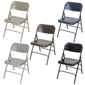 Classic Series Steel Folding Chair - Quad Hinged - Triple Cross Braced - 300lb Capacity