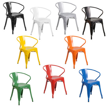 Indoor/Outdoor Metal Bistro Tolix Stacking Chairs with Arms