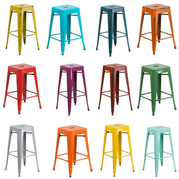 Indoor/Outdoor Metal Backless Stool