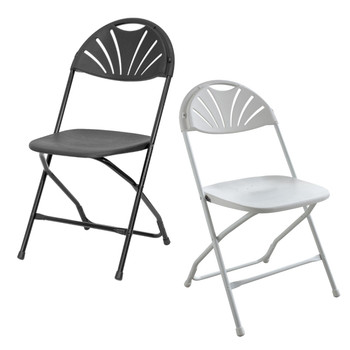 Rhino Fan Back Plastic Folding Chair - 800 lb. Capacity - Rental Style