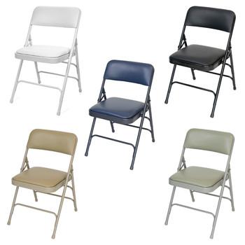 Rhino Vinyl Padded Folding Chair - Quad Hinged - Triple Cross Braced - 300lb Capacity