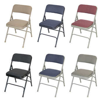 Classic Series Fabric Padded Folding Chair - Quad Hinged - Triple Cross Braced