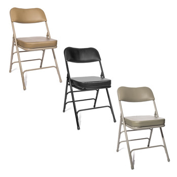 """XL Series 2"""" Thick Vinyl Padded Folding Chair - Quad Hinged - Triple Cross Braced in Beige, Black, and Grey"""