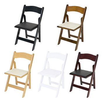 Classic Series Wood Folding Chair with Vinyl Padded Seat