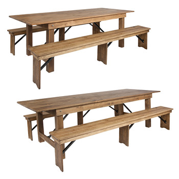 "40"" Wide Hercules Antique Rustic Solid Pine Folding Farm Table with 2 Bench Set"