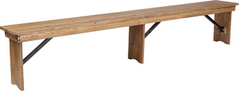8ft Hercules Antique Rustic Solid Pine Folding Farm Bench with 3 legs