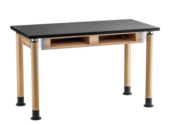 Chemical and Water Resistant Science Lab Table With Dual Book Compartment By National Public Seating