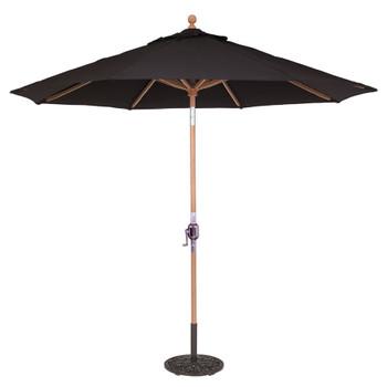Galtech 9-ft. Teak Wood Umbrella With Rotational Tilt Crank Lift, Model 537 (GA537)