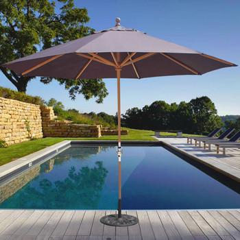 Galtech 11-ft. Teak Wood Umbrella With Crank Lift, Model 587