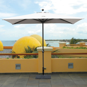 Galtech 3.5x7-ft. Half Wall Aluminum Umbrella With Crank Lift, Model 772AB (GA772AB)