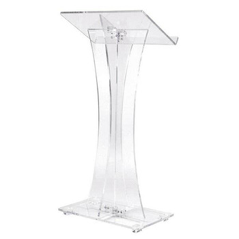 Contemporary Curved Clear Acrylic Presentation Podium