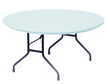 """R-Series By Correll 60"""" (5 ft) Round R-Series Plastic Folding Table, Model R60 (CL-R60) Pictured in Gray Granite"""