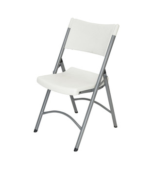 Classic Series White Granite Blow Molded Plastic Folding Chair