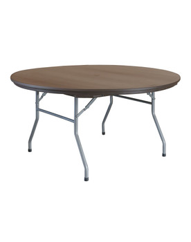 "Rhino 60"" Round Brown Plastic Folding Banquet Table With Umbrella Hole"
