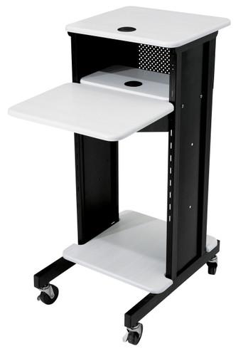Premium Presentation Cart By Oklahoma Sound - Black / Ivory Woodgrain