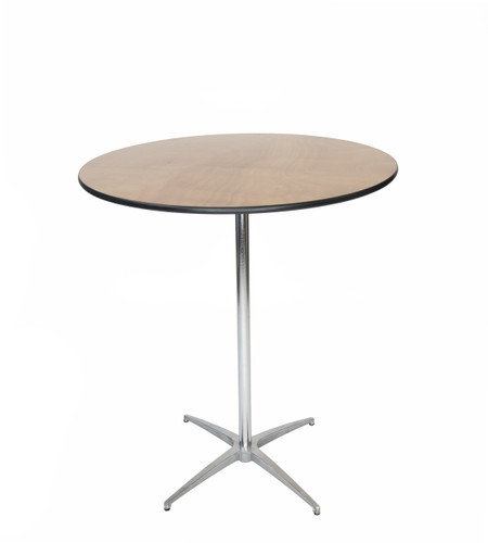"Classic Series 36"" Round Plywood Cocktail Table, Vinyl Edging, 30""H & 42""H Poles Included - 36"" Round"