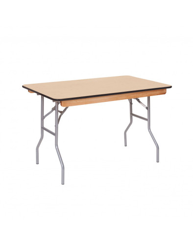 "Premier Series 30""W x 48""L (4FT) Rectangular Plywood Banquet Folding Table With Vinyl Edge - Sale"