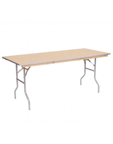 "Premier Series 30""W x 48""L (4FT) Rectangular Plywood Banquet Folding Table With Metal Edge - Sale"