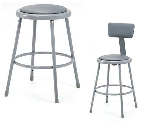 Grey Round Science Lab Stool With Padded Seat and Optional Backrest By National Public Seating - 3 Sizes - 10Warranty