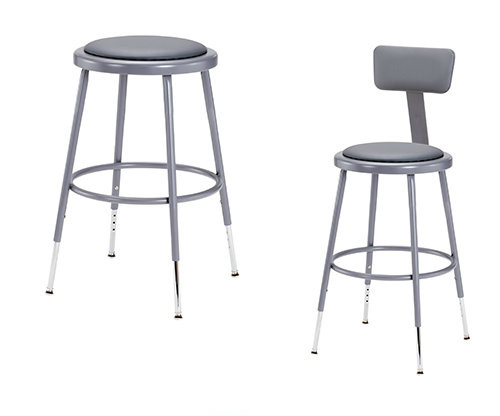 Grey Adjustable Round Science Lab Stool With Padded Seat and Optional Backrest By National Public Seating - 3 Sizes - 10Warranty
