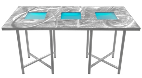 X-Cube Aluminum Tables with Swirl Top & LED light Kit options - Aluminum