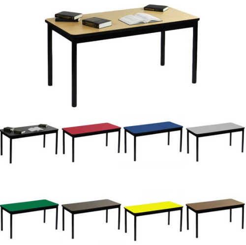 "Correll Library Table with High Pressure Laminate Tops 29"" Height-USA Made - USA - 7 Sizes - 8 Colors"