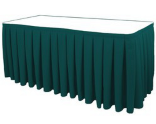 "30""H Solid Polyester Box Pleat Table Skirting (By the Foot) Includes Velcro Clips - 10+Colors-20+Free Ship"