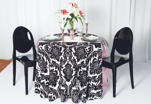 Alterio Black & White Damask Tablecloth Linen - 10+Sizes-10+Colors-20+Free Ship